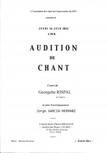 Audition de la classe de chant de Georgette Rispal dans Infos georgette-212x300